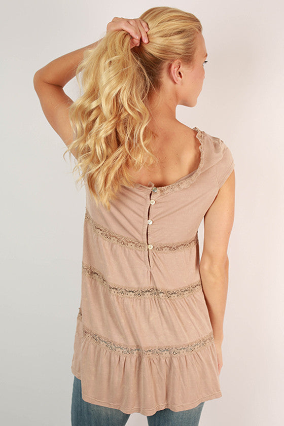 Cute As A Button Lace Babydoll Top in Taupe