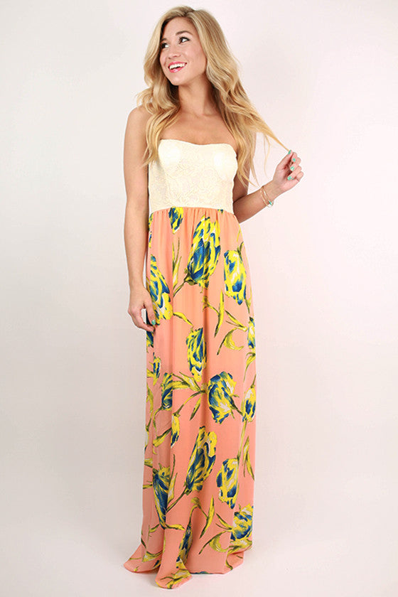 Fabulous in Floral Maxi Dress in Peach