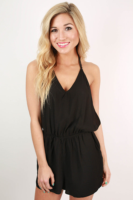 The Girl Next Door V-Neck Romper in Black