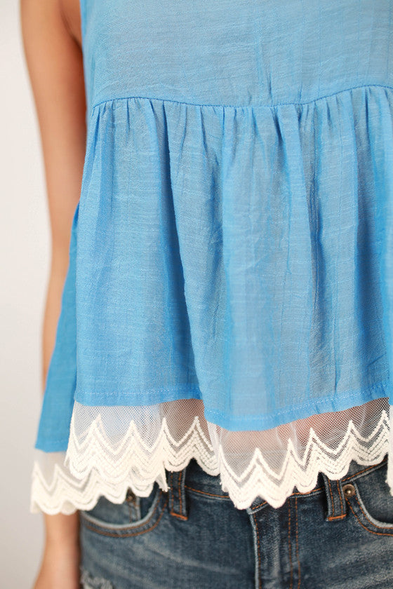 Life On The Beach Lace Flutter Tank in Ocean Blue