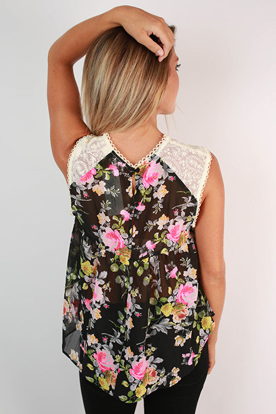 Vacay In Italy Chiffon Floral Top in Black
