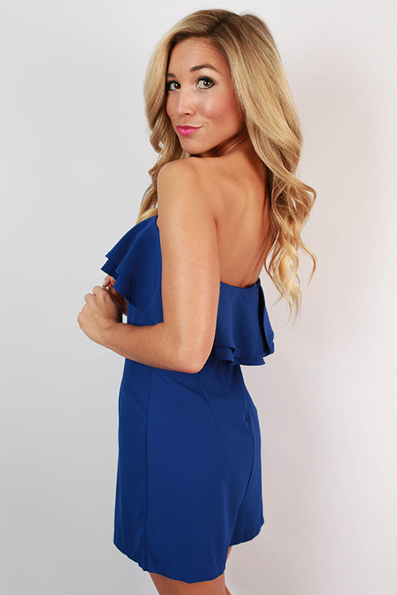Made You Smile Ruffle Romper in Royal Blue