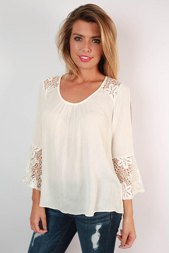 A Class Act Lace Top in White