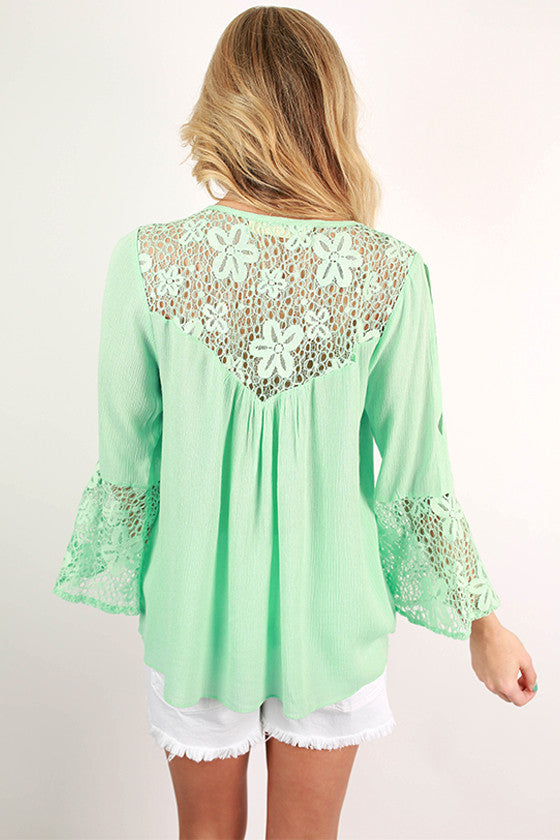 A Class Act Lace Top in Aqua