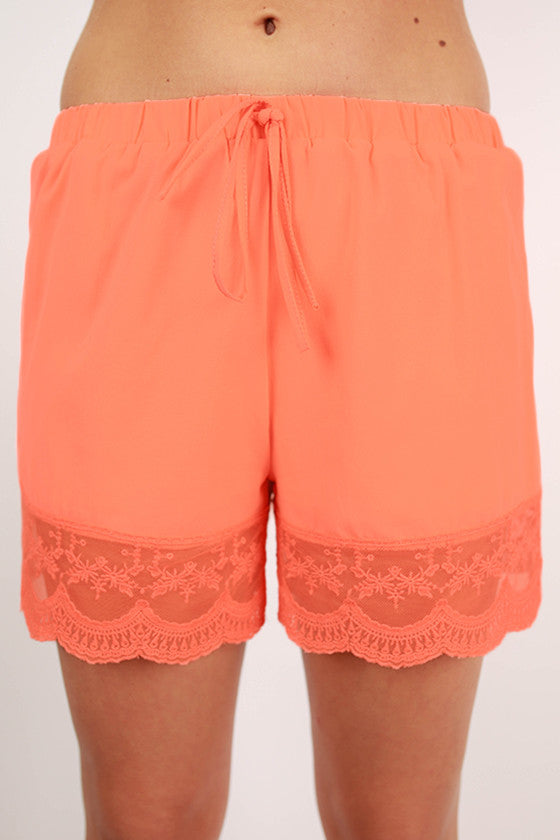 Sail Me Away Shorts in Neon Coral