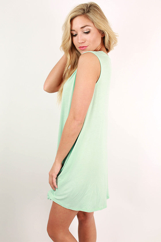 Caribbean Bliss Tank Dress in Aqua