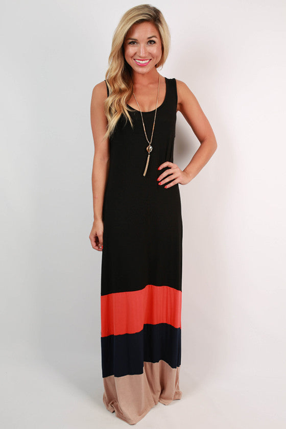 d25ff3f94c1d Antigua Stripe Maxi Dress in Black • Impressions Online Boutique