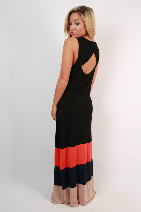 Antigua Stripe Maxi Dress in Black