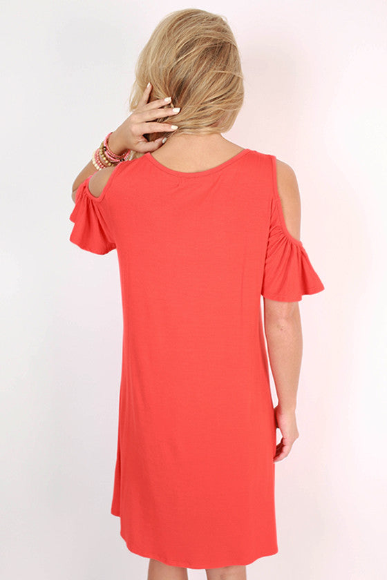 Bermuda Hopping Open Shoulder Dress in Coral