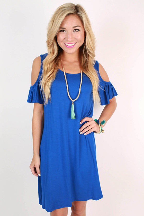 Bermuda Hopping Open Shoulder Dress in Royal Blue