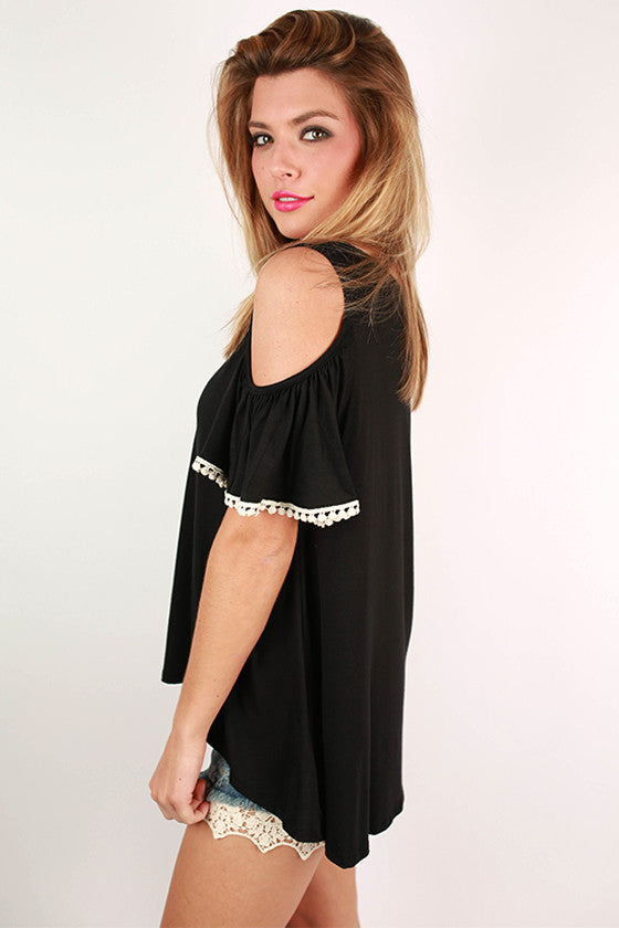 Watch The Sunset Open Shoulder Top in Black