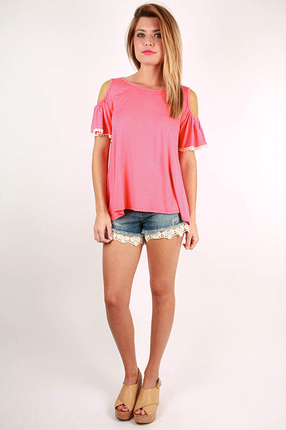 Watch The Sunset Open Shoulder Top in Pink
