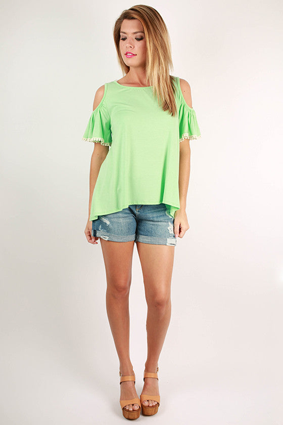 Watch The Sunset Open Shoulder Top in Mint