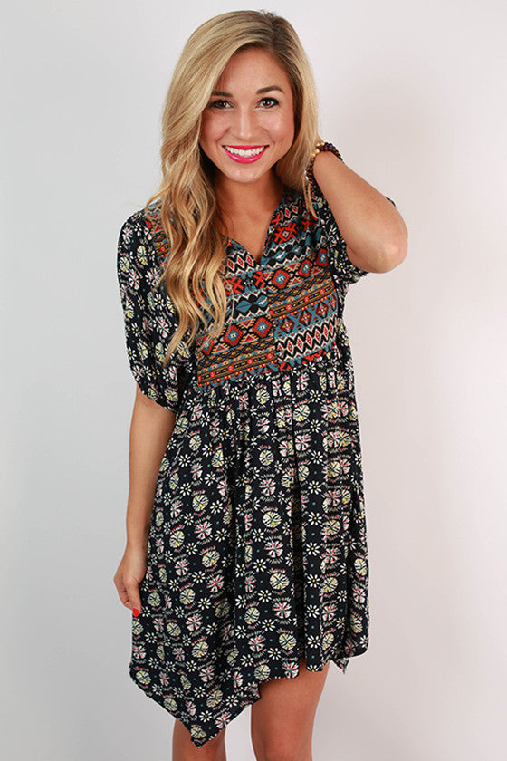 It's For Keeps Print Tunic Dress in Navy