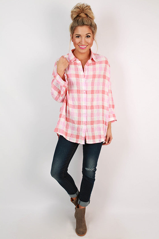 Warm Southern Breeze Button Up Top in Pink