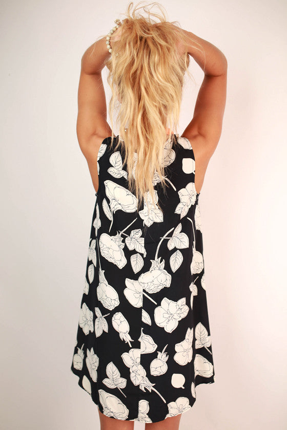 My Favorite Bouquet Floral Shift Dress in Navy