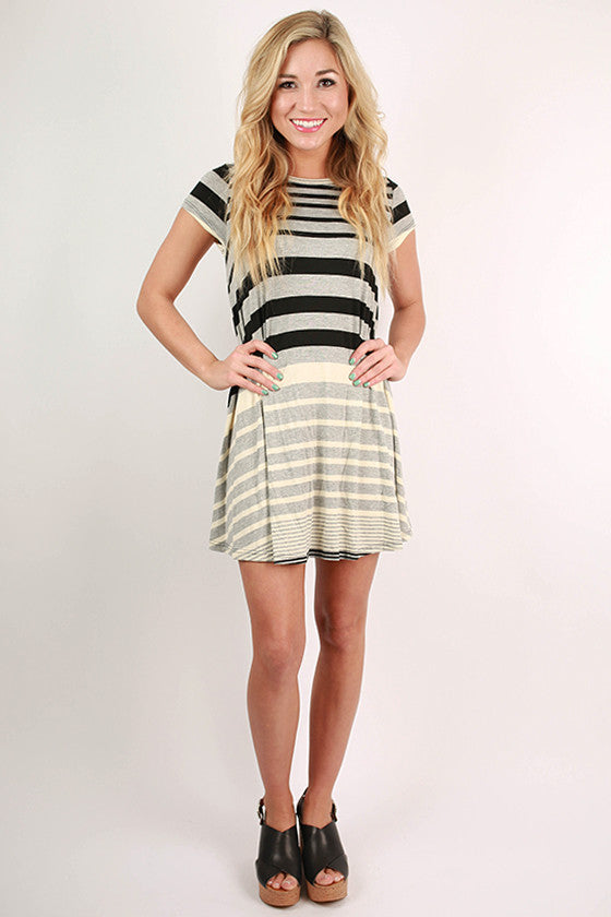 Parisian Nights Stripe Shift Dress in Grey