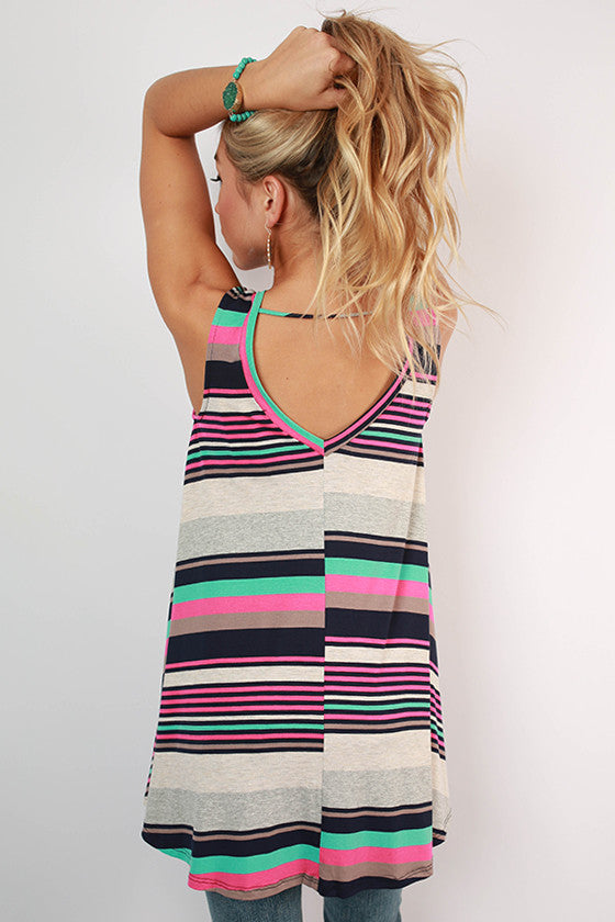 Summer Party Stripe Tunic Dress in Navy
