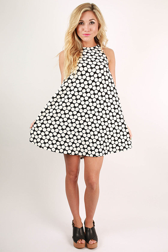 Don't You Forget It Polka Dot Twirl Dress in Black