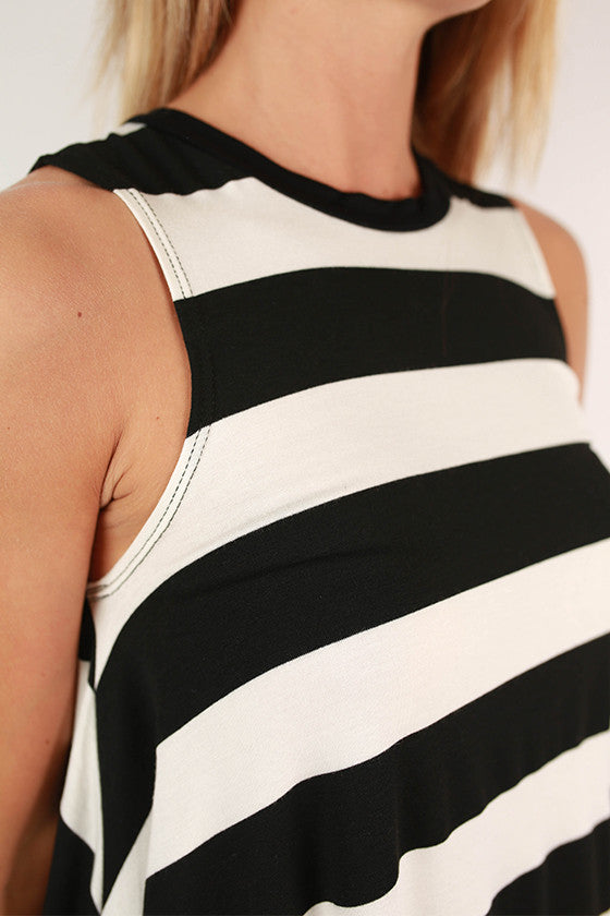 Call Ya Later Stripe Tank in Black