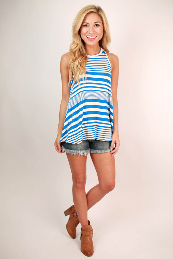 Just My Type Stripe Tank in Blue