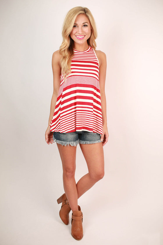 Just My Type Stripe Tank in Red