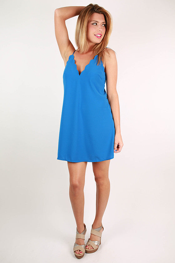 Style in Spain Shift Dress in Ocean Blue