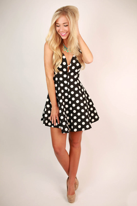 Polka Dot Perfection Dress in Black