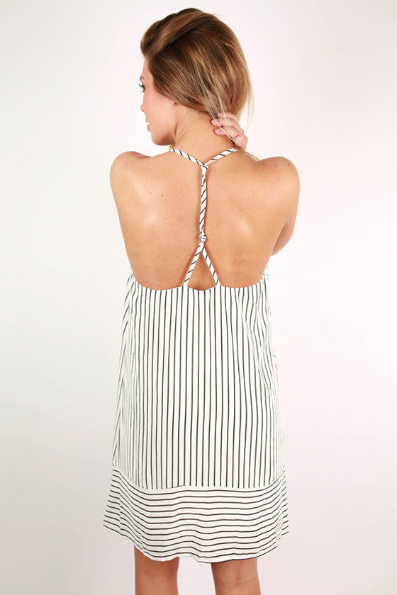 Rodeo Drive Stripe Dress in White