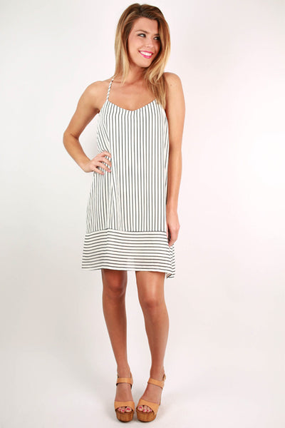 Rodeo Drive Stripe Dress In White Impressions Online