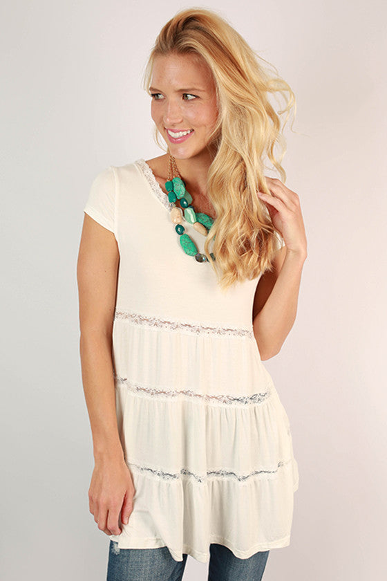 Cute As A Button Lace Babydoll Top in White