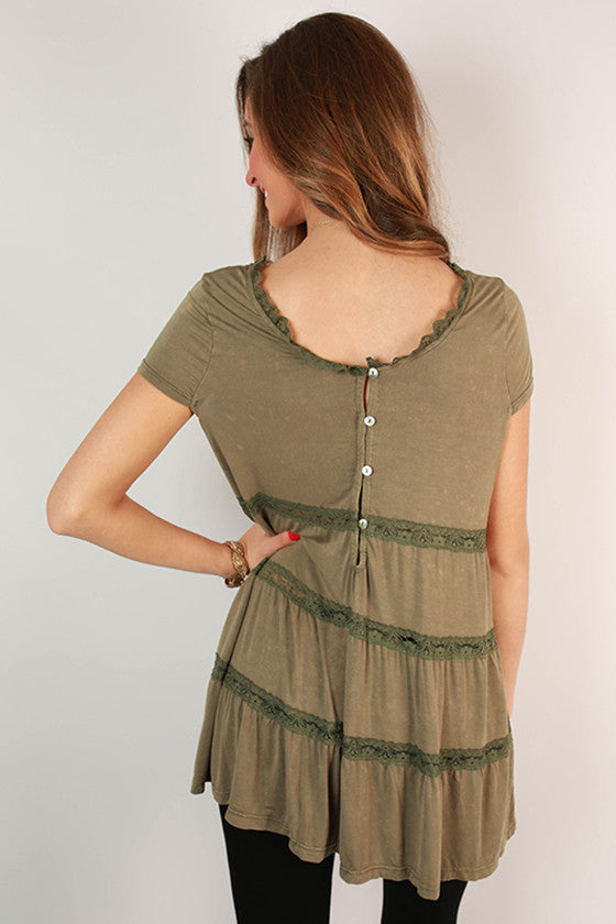 Cute As A Button Lace Babydoll Top in Sage