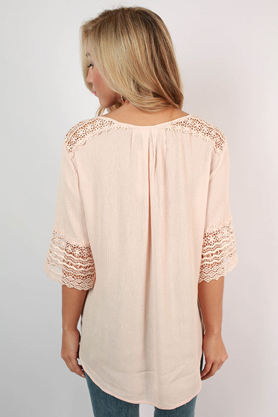 Live & Love Crochet Top in Blush