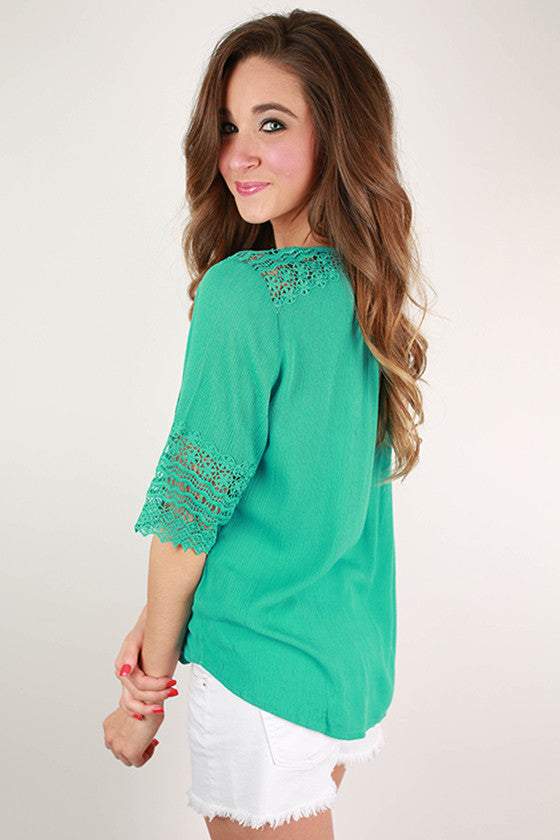 Live & Love Crochet Top in Turquoise