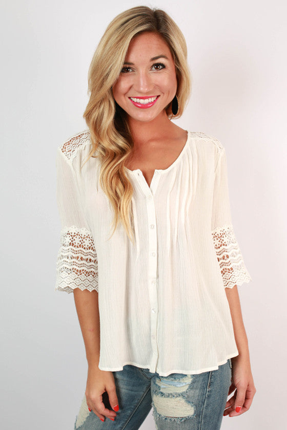 Live & Love Crochet Top in Ivory