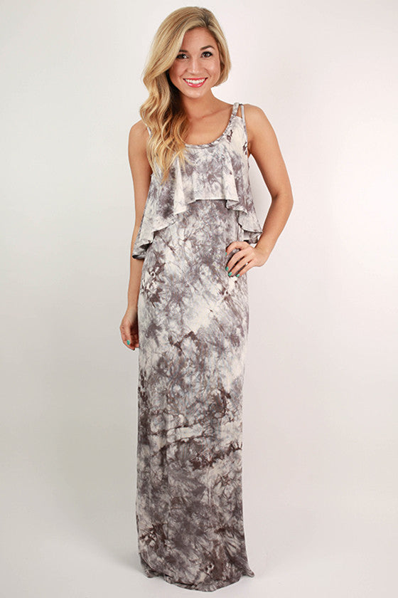 Jetset To Europe Ruffle Maxi Dress in Grey