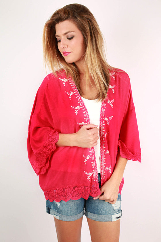 Chic In Paris Embroidered Overlay in Fuchsia