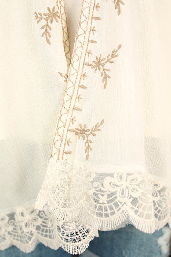 Chic In Paris Embroidered Overlay in Ivory