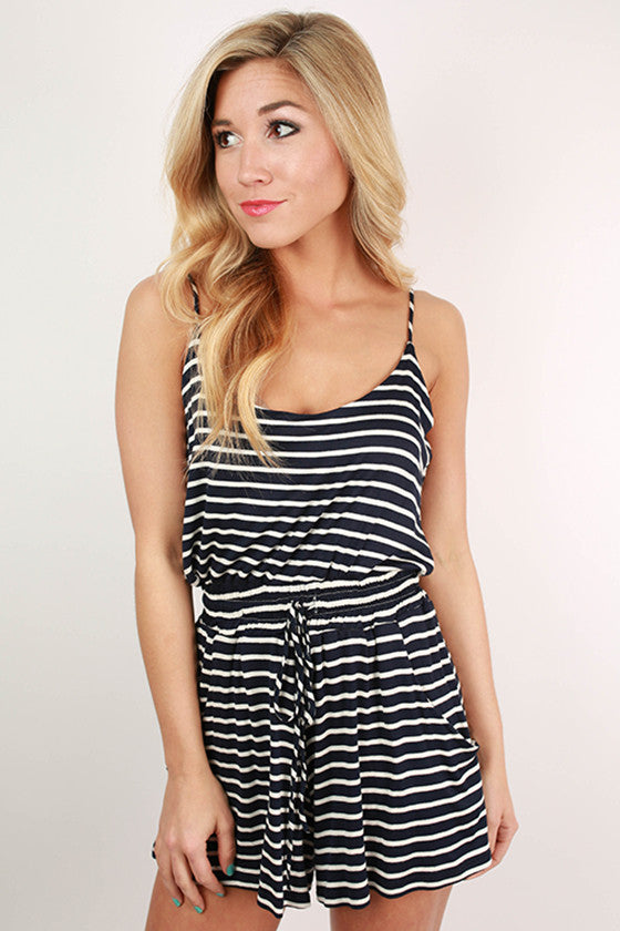 Riley Stripe Romper in Navy