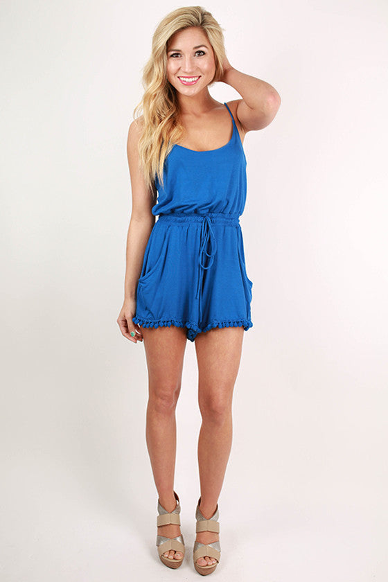 Riley Pom Romper in Royal Blue