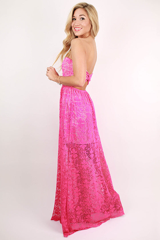 Bow For Me Lace Maxi Dress in Magenta