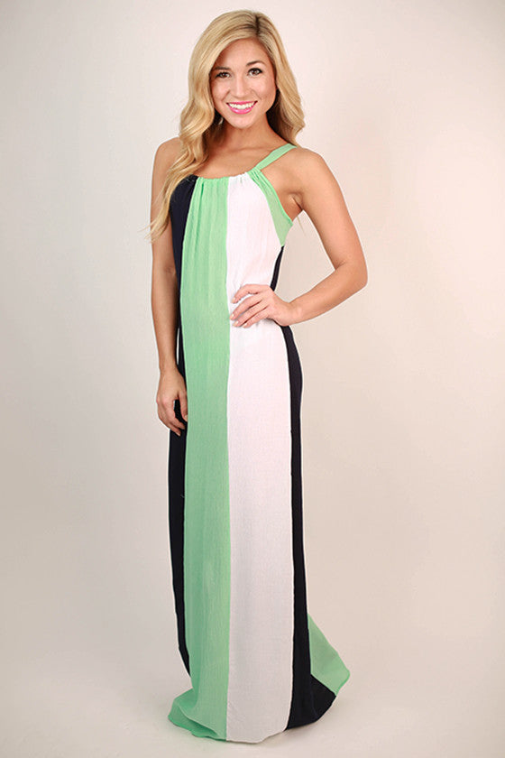 Style It Up Color Block Maxi Dress in Mint