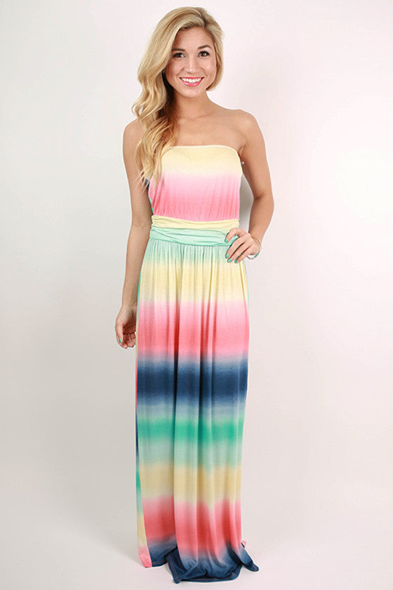 Sunshine Love Watercolor Maxi Dress