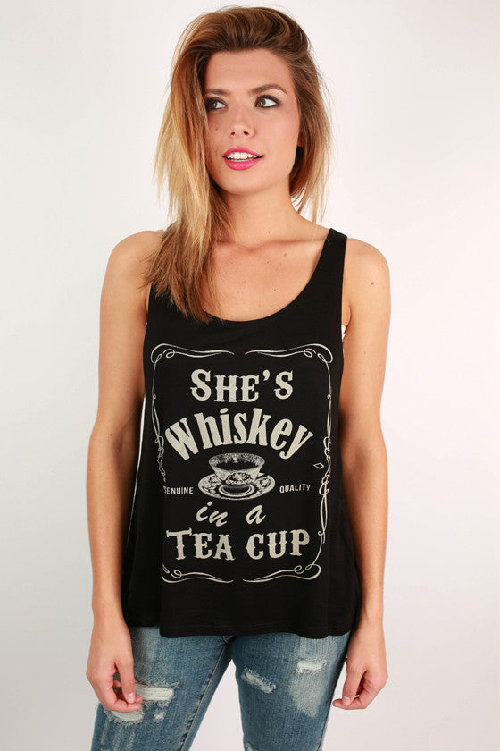 She's Whiskey in a Tea Cup Graphic Tank in Black