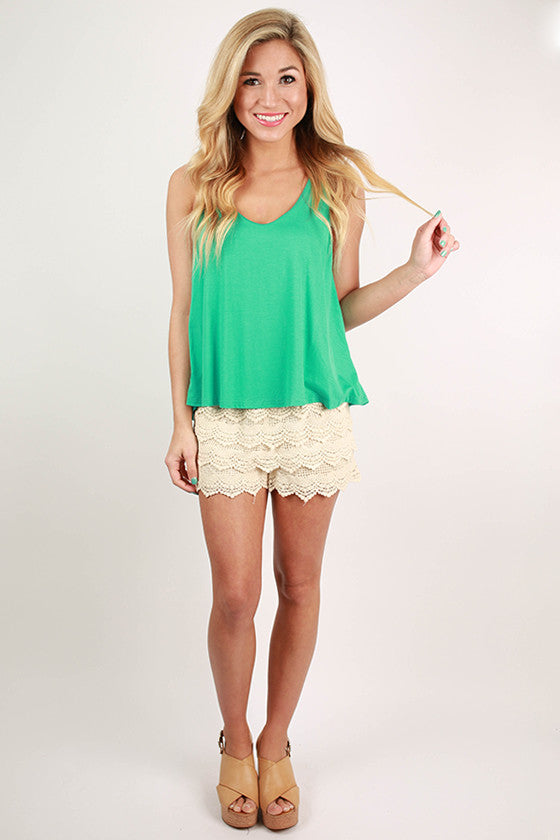 Sweet & Simple V-Neck Tank in Turquoise
