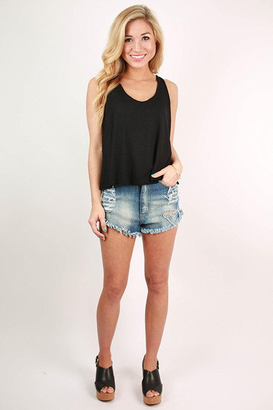 Sweet & Simple V-Neck Tank in Black