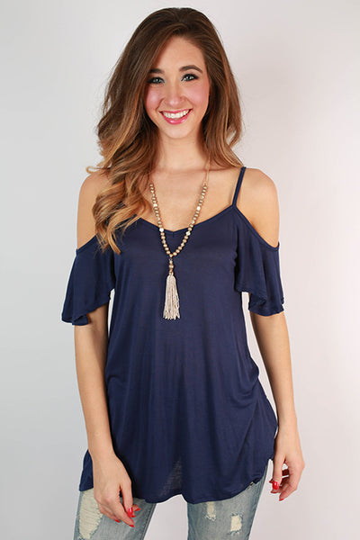 The Cold Shoulder Top in Navy – Impressions Online Women's Clothing Boutique