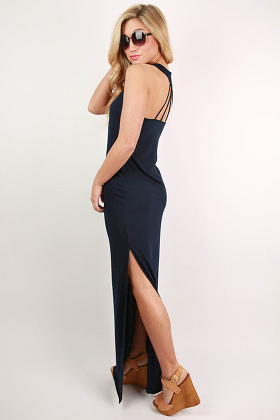 Hollywood Hottie Maxi Dress in Navy