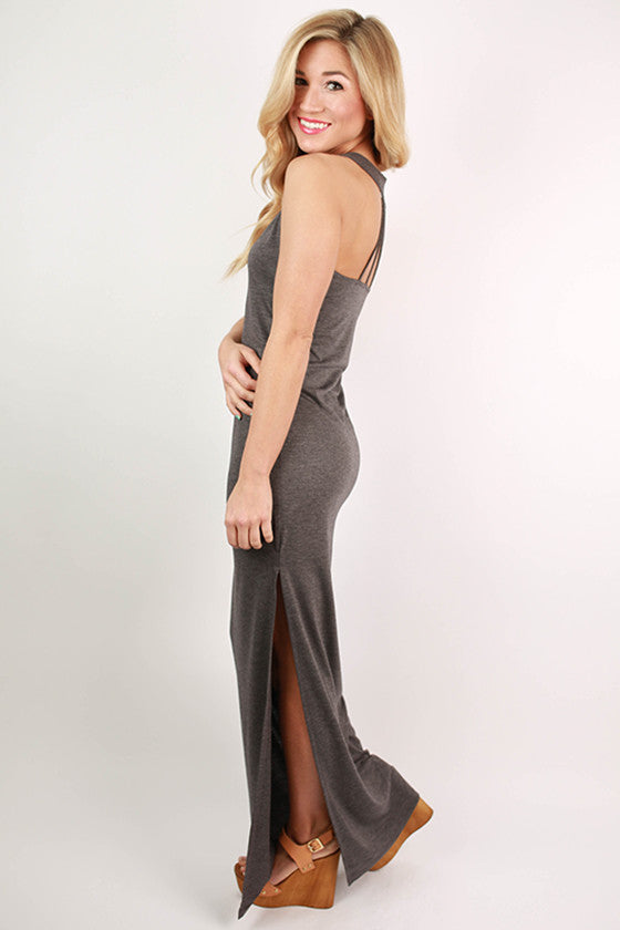 Hollywood Hottie Maxi Dress in Dark Grey