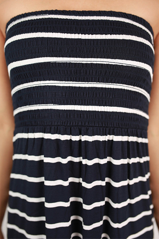 Beach Babe Stripe Tube Maxi in Navy